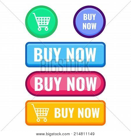 Set of web push buttons buy now with cart icon vector promo stickers of rectangular and round shapes vector illustrations isolated on white background