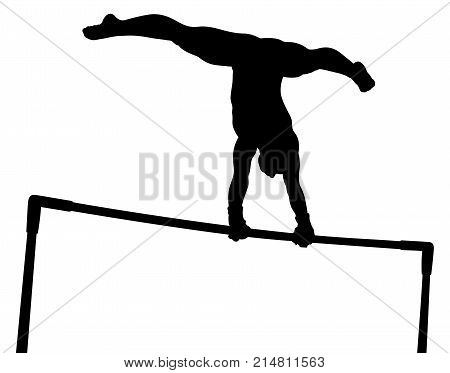 Uneven bars girl gymnast in artistic gymnastics black silhouette poster