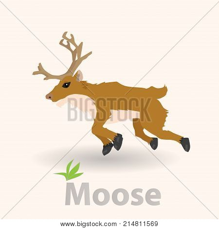 Dear Moose in jump gesture on white background.