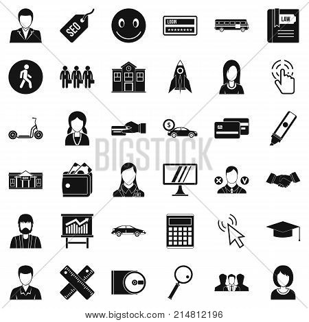 Action icons set. Simple style of 36 action vector icons for web isolated on white background