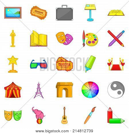 Advanced training icons set. Cartoon set of 25 advanced training vector icons for web isolated on white background