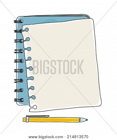 notebook note paper and yellow pen hand drawn vector art illustration