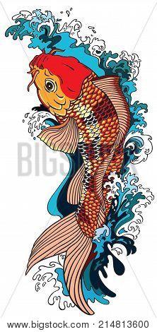 koi carp gold fish swimming upstream. Vector illustration tattoo style drawing