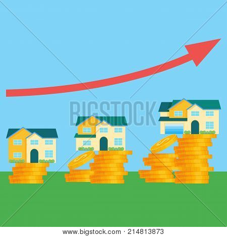 Houses and price that depends on its size. Real estate costs graphic with red diagonal arrow and piles of shiny gold coins cartoon vector illustration.