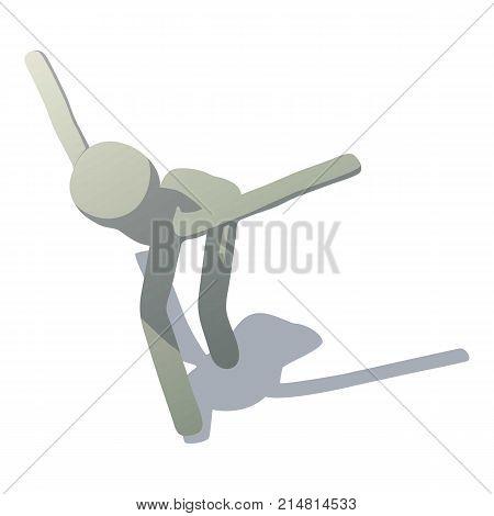 Stick man hopping icon. Isometric illustration of stick man hopping vector icon for web