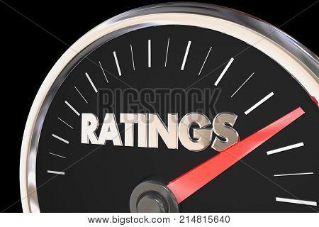 Ratings Audience Metrics Reviews Viewers Speedometer 3d Illustration