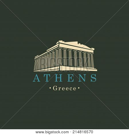 Vector travel banner or logo. Parthenon from Athens Acropolis Greece. Greek ancient national landmark in retro style
