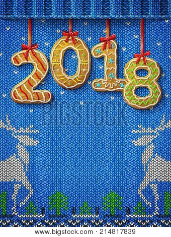 New Year 2018 in shape of gingerbread against knitted background. Year number like cookies on ribbon. Best vector image for christmas new years day cooking winter holiday food silvester etc