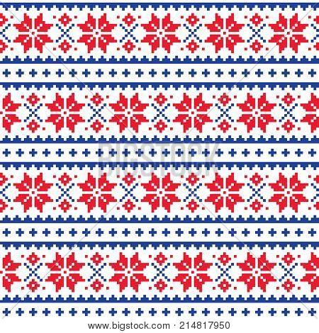 Christmas, winter seamless vector pattern, Scandianvian Lapland folk art design, cross stitch background