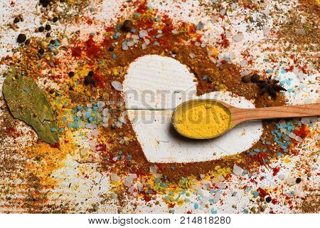 Set Of Spices On White Wooden Background. Composition Of Condiment