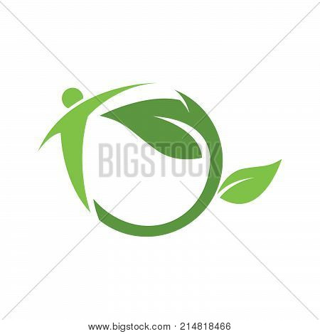 Nature and energy logo concept. people green leaf logo design concept template