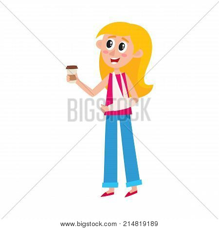 Young pretty blond woman with broken arm in sling holding coffee cup, cartoon vector illustration isolated on white background. Funny cartoon, comic style woman with broken arm and paper coffee cup