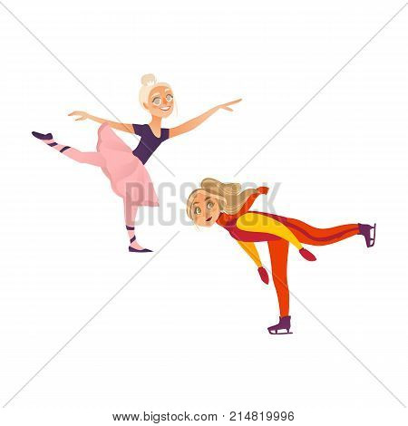 Two teenage girls, figure skater on ice and ballet dancer in tutu skirt, flat cartoon vector illustration isolated on white background. One teen, teenage girl figure skating, another dancing ballet