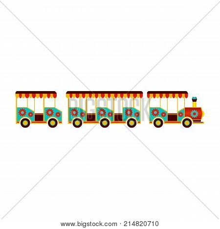 vector flat amusement park concept. wooden steam kids train on wheels for children from Funfair carnival. Isolated illustration on a white background.
