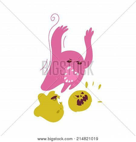 Group of ugly, evil microbe, virus, germ, bacteria characters, cartoon vector illustration isolated on white background. Scary, ugly evil microbe, bacteria, virus monsters with faces and sharp teeth