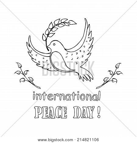 International peace day colorless vector illustration with dove holding a twig in beak. Pigeon as symbol of harmony and love isolated on white