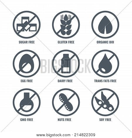 Set of icons with round sign meaning absence of sugar or gluten in food, no organic soy in product, don't contain eggs or gmo in meal vector black silhouettes