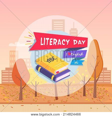 Literacy Day postcard with words I Love English and A mark. Autumn city background on vector Illustration ads gold yellow colors with trees and misty buildings in distance