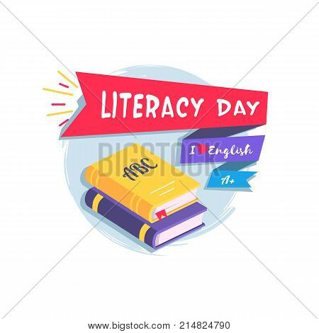 Literacy Day logo with words I Love English and A mark on different signs. Vector illustration of textbooks and inscription on white