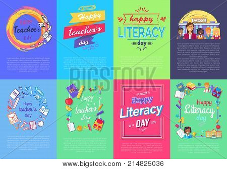Happy Teacher s Literacy Day collection of creative colorful posters with text. Vector illustration of education-related things and objects