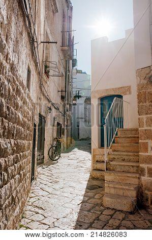 Characteristic alley in Polignano a mare Apulia Italy Europe