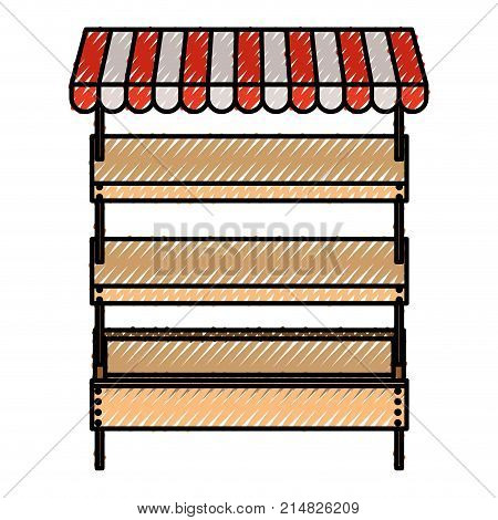 supermarket shelves empty with three levels and sunshade in colored crayon silhouette vector illustration