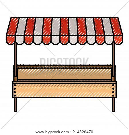 supermarket shelf with big storage of one level and sunshade in colored crayon silhouette vector illustration