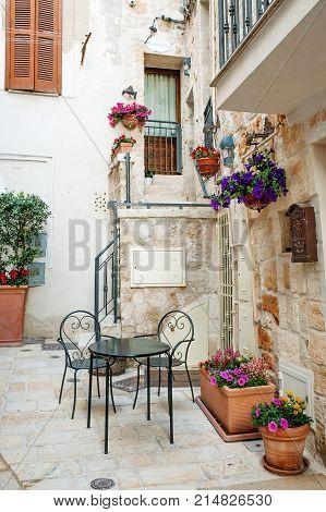 Characteristic building in Polignano a mare Apulia Southern Italy