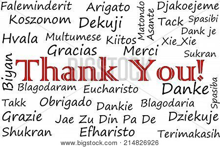 Thank you Wordcloud on a white background - illustration
