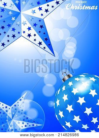 3D Illustration of Glowing Blue Festive Christmas Portrait Background with Bauble Stars and Decorative Text