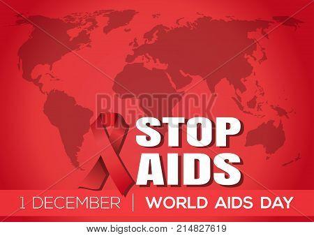World Aids Day poster design. Aids Awareness. 1 December. Stop Aids. Vector illustration