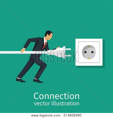 Business connection concept. Vector illustration flat design. Businessmen connecting hold plug and outlet in hand, isolated on background. Connecting power socket.