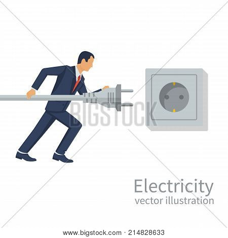 Businessman holding in hand electric power plug. Unplug, plugged in wall socket. Vector illustration flat design.Connecting power plug.