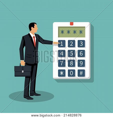 Businessman in suit with briefcase presses on button, entering security system code. Combination  PIN code on keypad. Man pres code. Digital combination lock wall. Vector flat design. Password alarm.