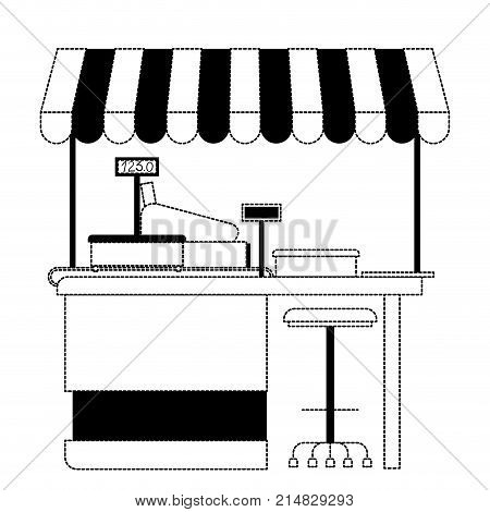 supermarket shelf with weighing machine and cash register point with sunshade in black dotted silhouette vector illustration