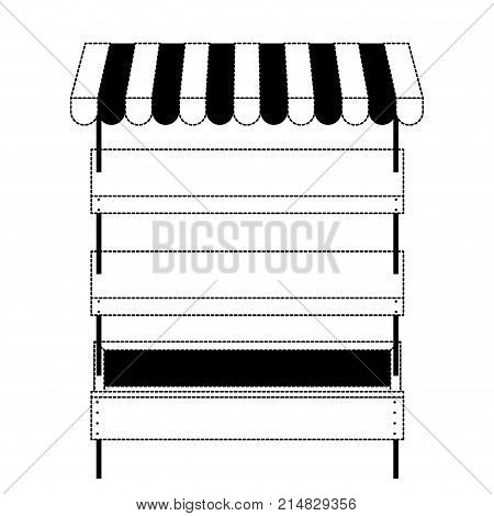 supermarket shelves empty with three levels and sunshade in black dotted silhouette vector illustration