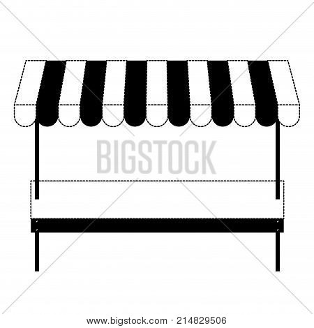 supermarket shelf of one level and sunshade in black dotted silhouette vector illustration