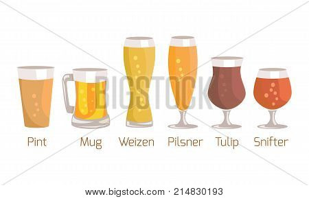 Pint and mug, weizen and pilsner, tulip and snifter, types of glasses used for beer vector illustration isolated on white background.