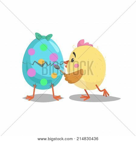 Cartoon cute chic paint with brush easter egg. Hatching e egg with green bow. Easter symbol. Vector flat designed illustration.
