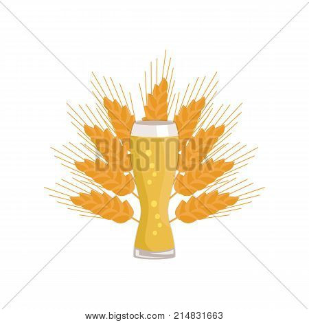 Weizen glass of beer on background of ears of wheat vector illustration. Glassware of light alcohol drink with bubbles, symbol of Oktoberfest festival