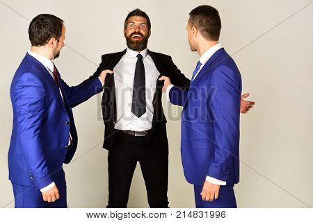 Man With Beard And Excited Face Fightes For Leadership.