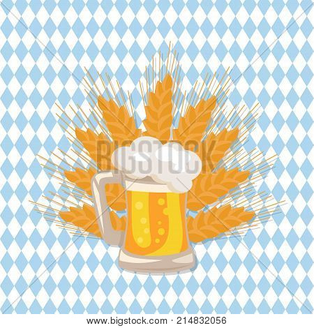 Traditional glass of beer vector illustration on checkered backdrop with ears of wheat. Light alchoholic beverage in transparent mug with handle