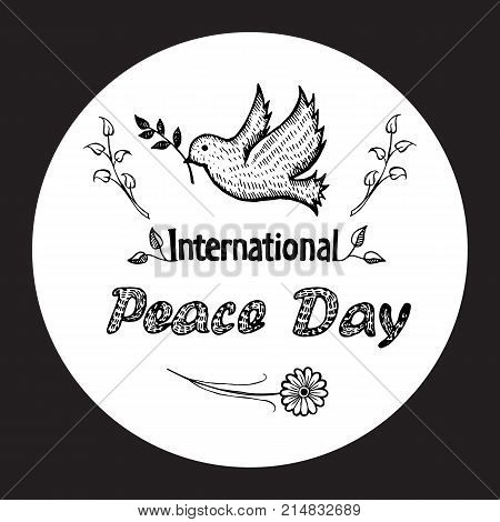 International peace day colorless vector with dove holding twig in beak. Pigeon as symbol of harmony and love isolated on white in black circle