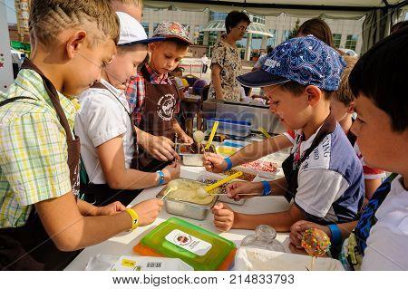Children Do Sweet Candies. Tyumen. Russia
