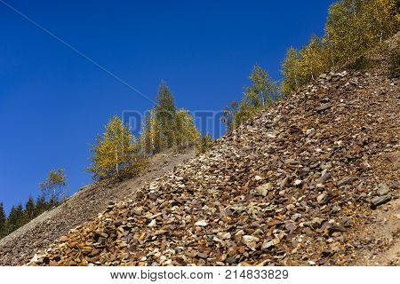 mountain scenery with natural scree stones .