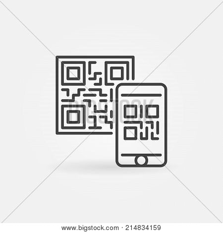 Mobile phone scanning QR code vector line concept icon or symbol