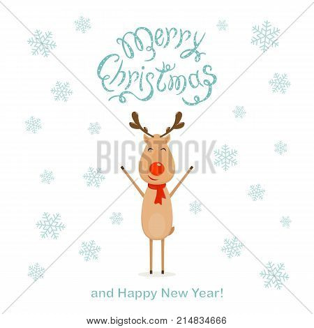 Happy reindeer and falling snowflakes with text Merry Christmas and Happy New Year on white background, illustration.