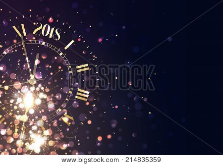 2018 New Years background vintage gold shining clock report time five minutes to midnight.