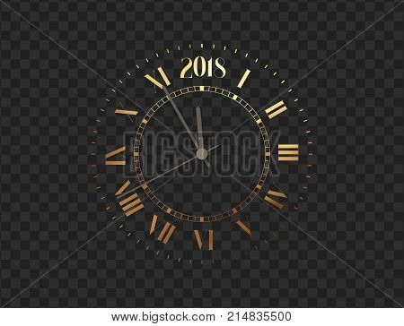 2018 New Year gold clock, five minutes to midnight. Merry Christmas. Watch isolated on transparent background