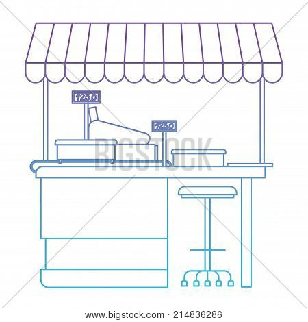 supermarket shelf with weighing machine and cash register point with sunshade in degraded purple to blue color contour vector illustration